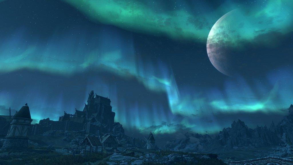 Ascending Whiterun at night